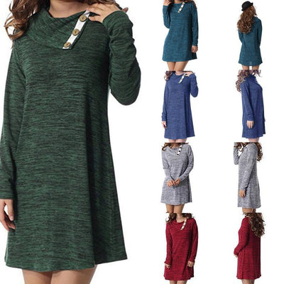 Women Autumn Lapel Button Loose Day Dress