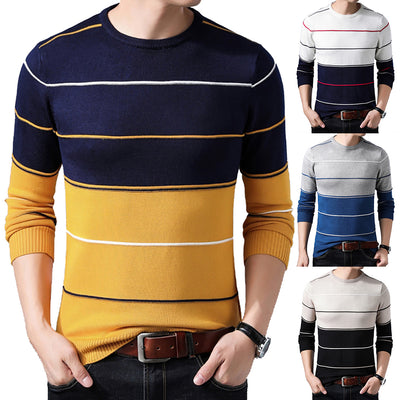 Men Fashion Casual Fitness Bodybuilding Stripe Long Sleeve T-shirt