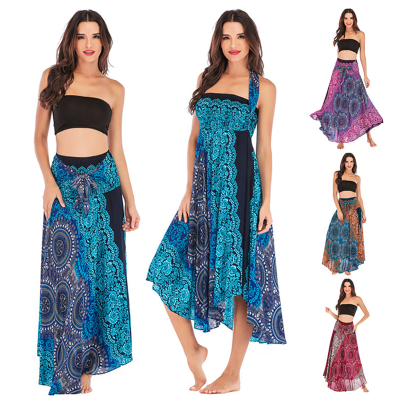 Women Long Hippie Bohemian Yoga Skirt Printed Beach Gypsy Two-wear Dress