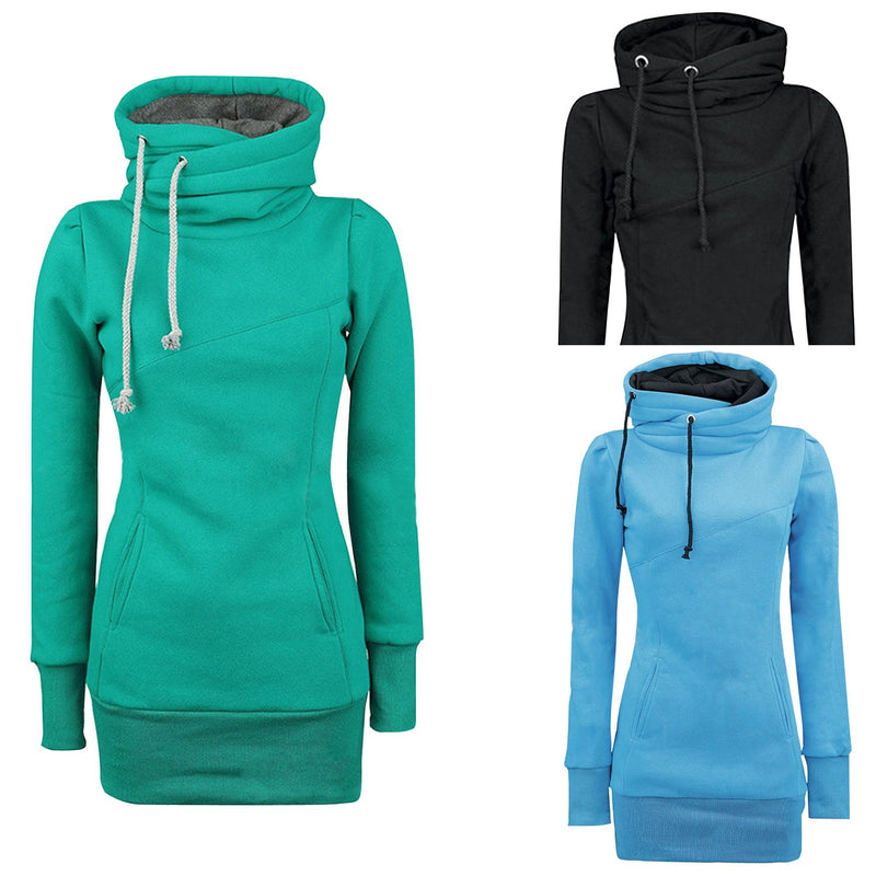 Women's Solid Kangaroo Pocket Hooded Sweatshirt