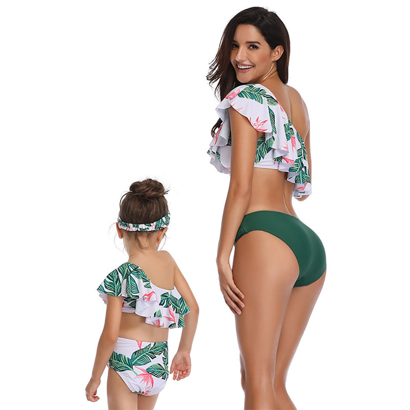 Women's One Shoulder Swimsuit Family Matching Mom Girls Bathing Suit Mommy and Me Swimwear Bikini Set