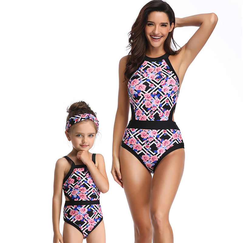 Women's Geometric Print One Piece Swimsuit Family Matching Mom Girls Bathing Suit Mommy and Me Swimwear
