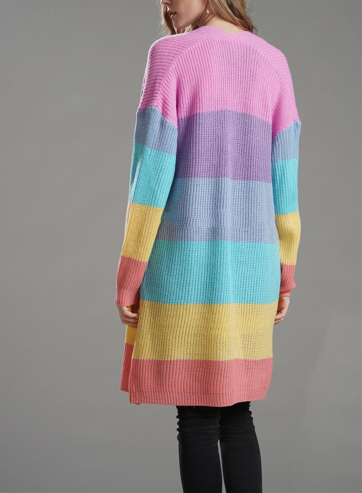 Women Round Neck Rainbow Stripes Knit Loose Cardigan