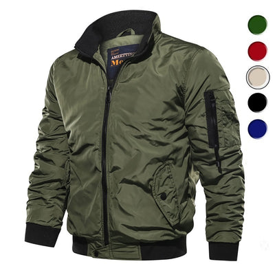 Men's Waterproof Military Zipper Stand-Collar Casual Flight Jacket