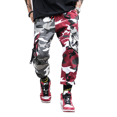 Men's Camo Streetwear Hip Hop Harem Joggers Multi-pockets Military Overalls Cargo Pants
