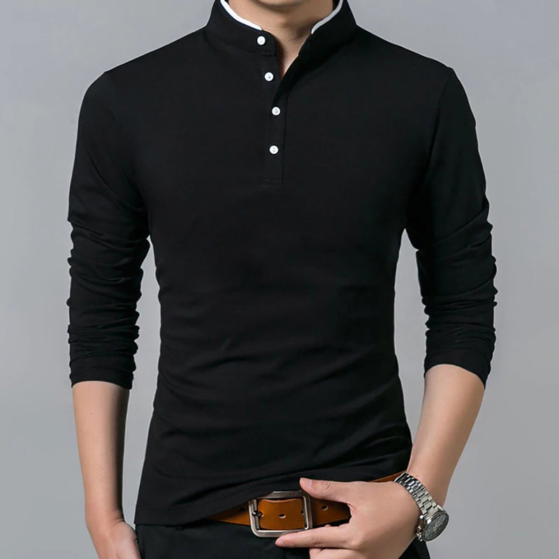 Men Cotton Solid Color Long Sleeve T-shirts