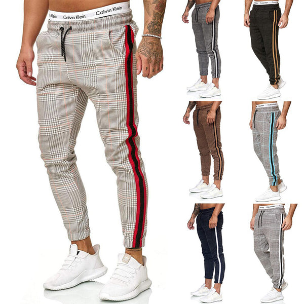 Men Striped Joggers Sweatpants Houndstooth Ankle-Length Pants