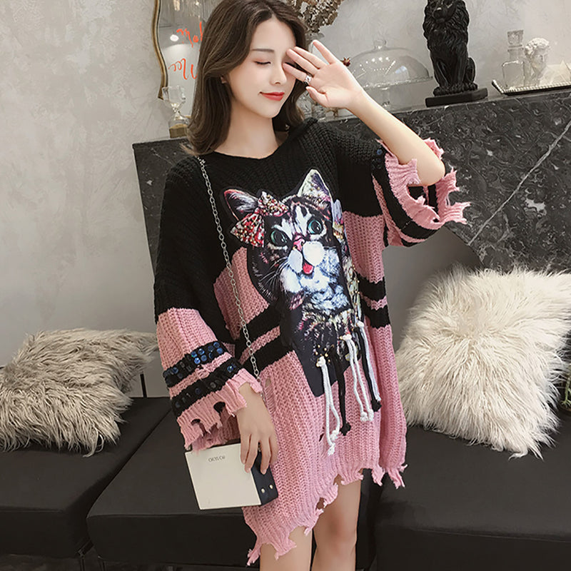 Ins Hot Round Neck Cat Print Leisure Hooded Long Sweater