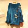 Women V-neck Stars Mohair Leisure Loose Knit Sweater