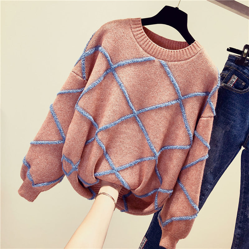 Ins Hot Round Neck Leisure Plaid Knit Sweater