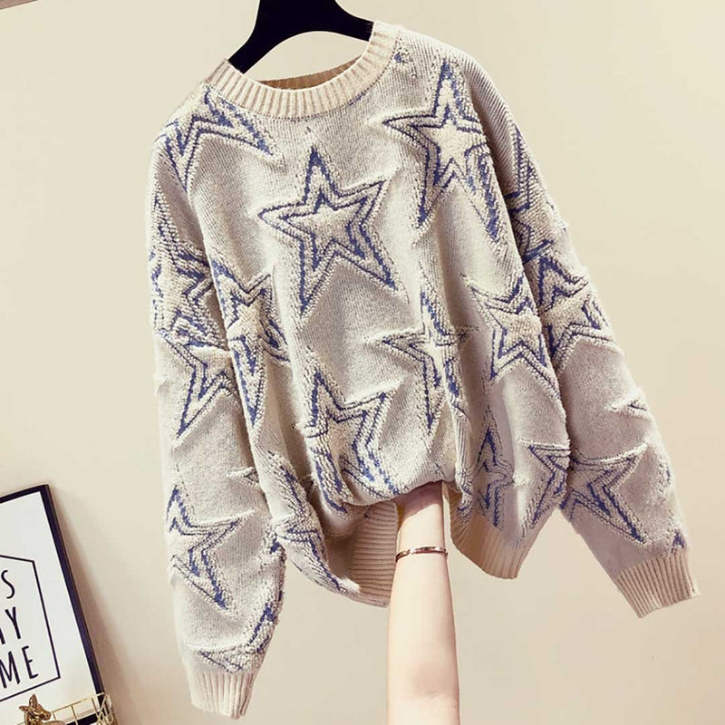 Ins Hot Round Neck Leisure Stars Knit Sweater