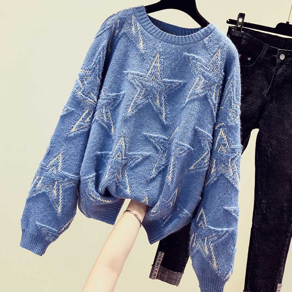 Ins Hot Round Neck Leisure Stars Knit Sweater 500g