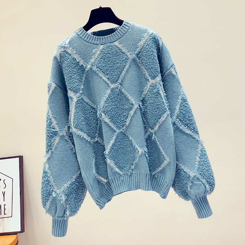 Ins Hot Round Neck Plaid Leisure Knit Sweater