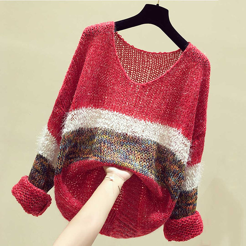Women V Neck Striped Bright Threadlet Hollow Knit Sweater