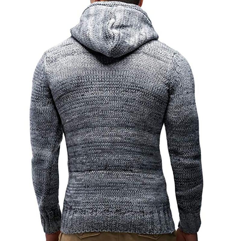 Men Autumn Winter Hooded Jumper Casual Slim Knitwear Pullover Sweatshirt