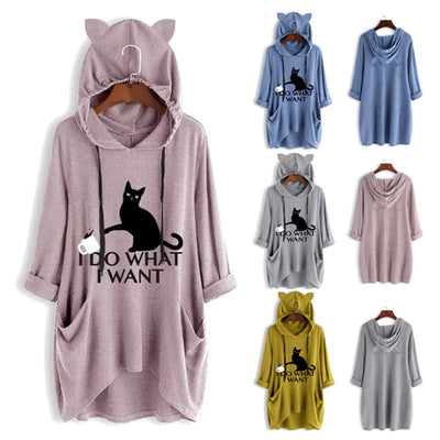 Ins Hot Cat Printed Irregular Hooded Sweatshirt