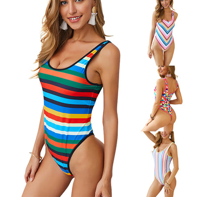 Women Colorfule Stripes Swimwear Backless One Piece Swimsuit