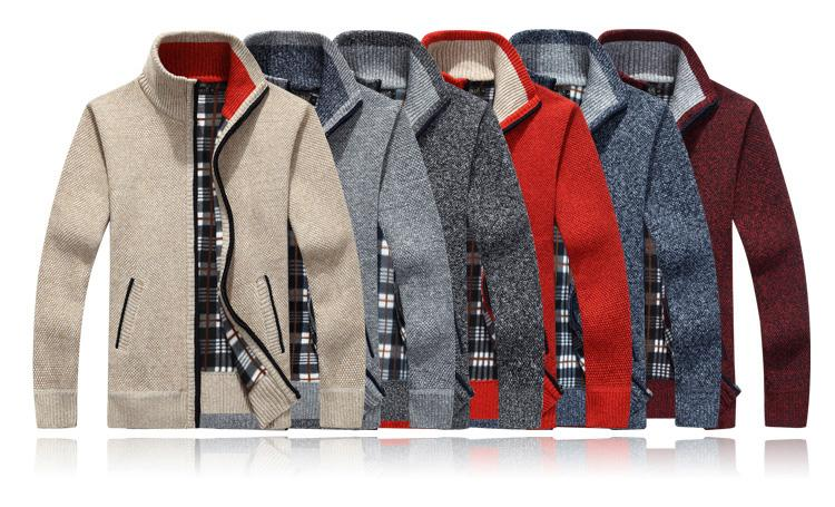 Men's Casual Slim Full Zip Thick Knitted Cardigan Sweaters with Pockets