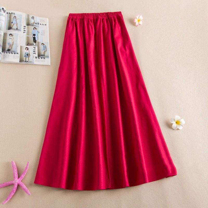 Vintage Ethnic Knot-Button Floral Embroider A-line Maxi Skirt