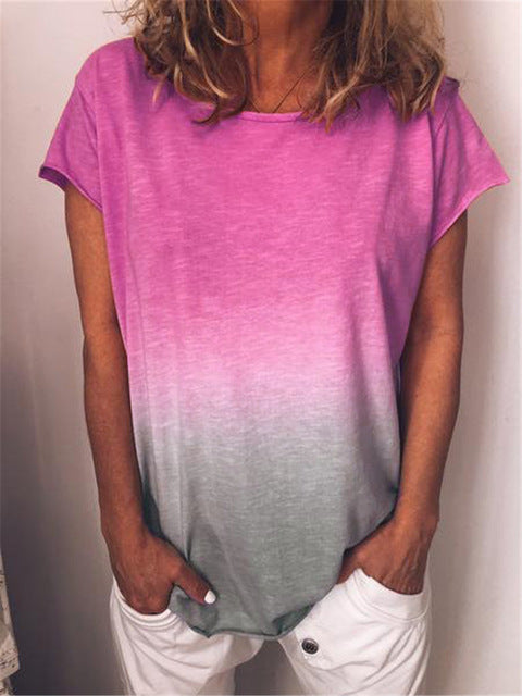 Women Summer Gradient Rainbow Casual O Neck Tops Short Sleeve T-shirt