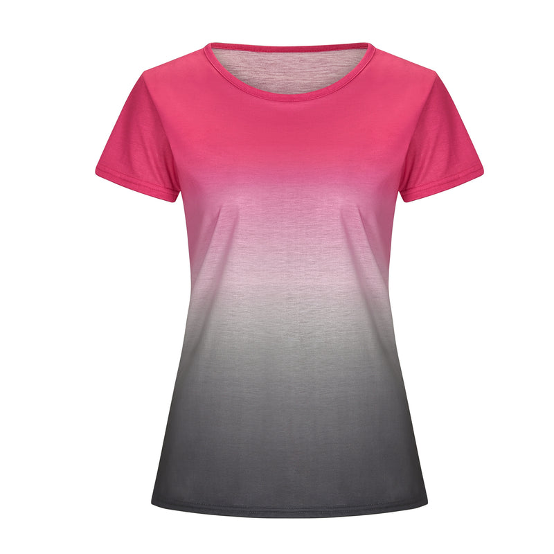 Women Summer Gradient Rainbow Casual O Neck Tops Long Sleeve T-shirt