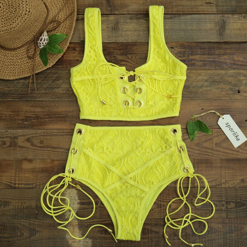 Lace High Waist Swimsuit Solid Push Up Swimwear Banting Suit Bikini Set