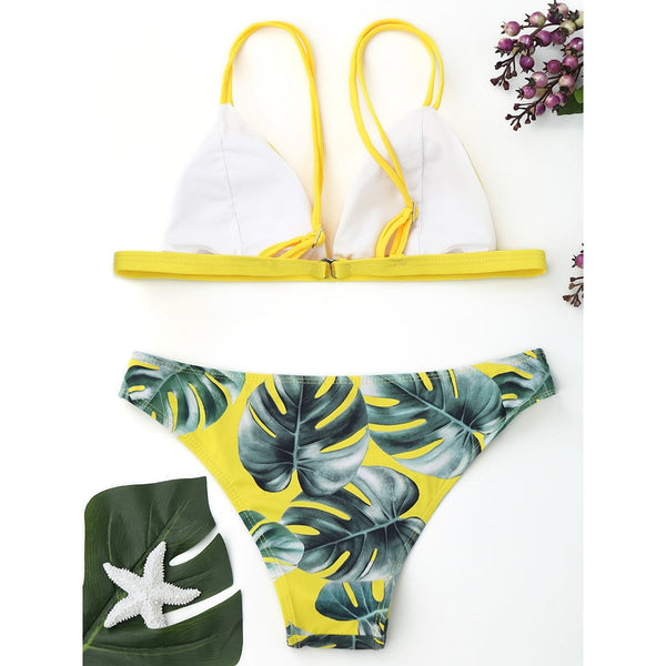 Sexy Low Waist Bathing Beachwear Print Leaves Push-Up Padded Bikini Set