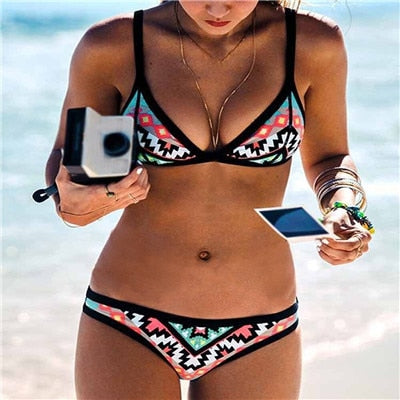 Sexy Swimsuit Swimwear Halters Padded Bikini Bather Swimming Suit