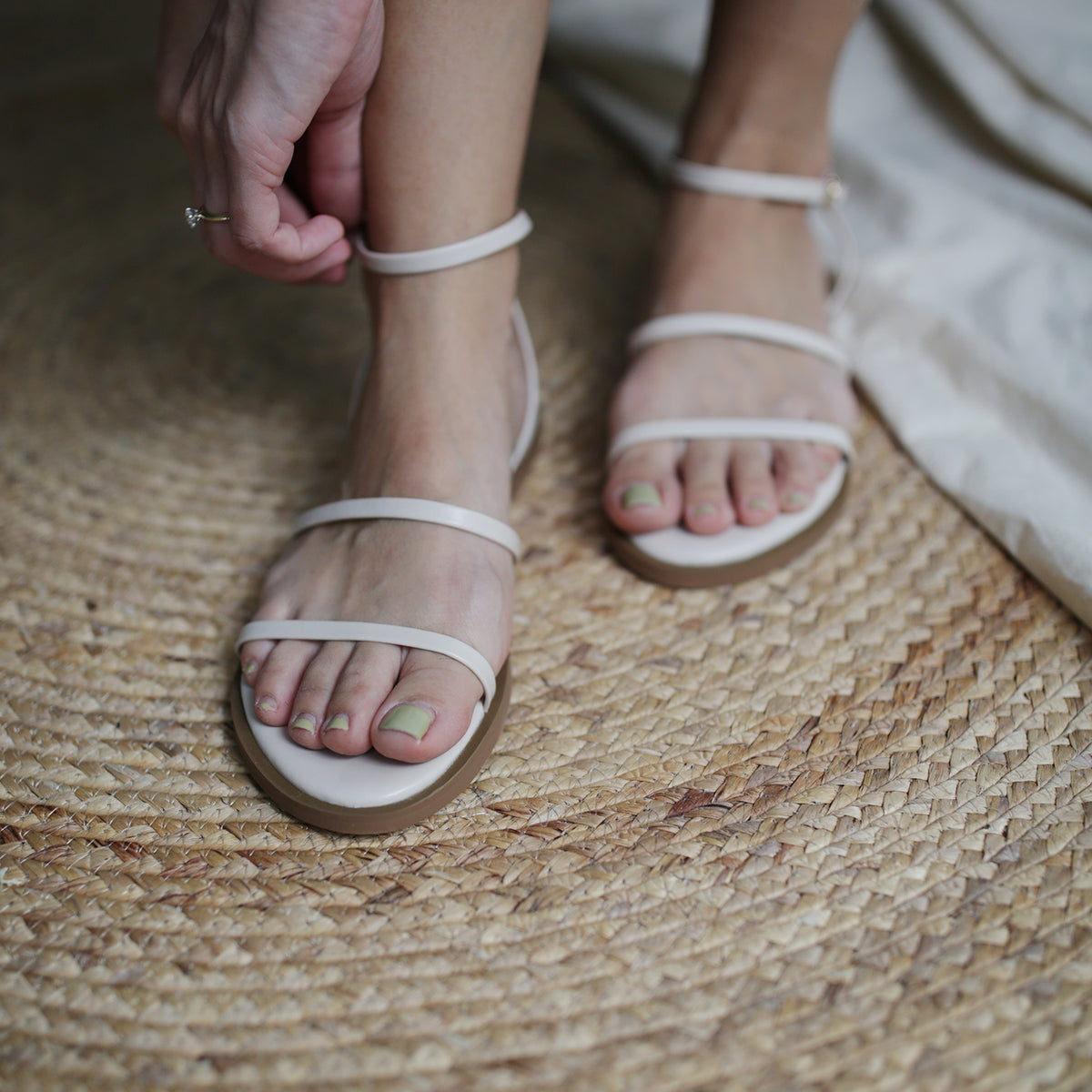 Kal Strappy Sandals (Cream)