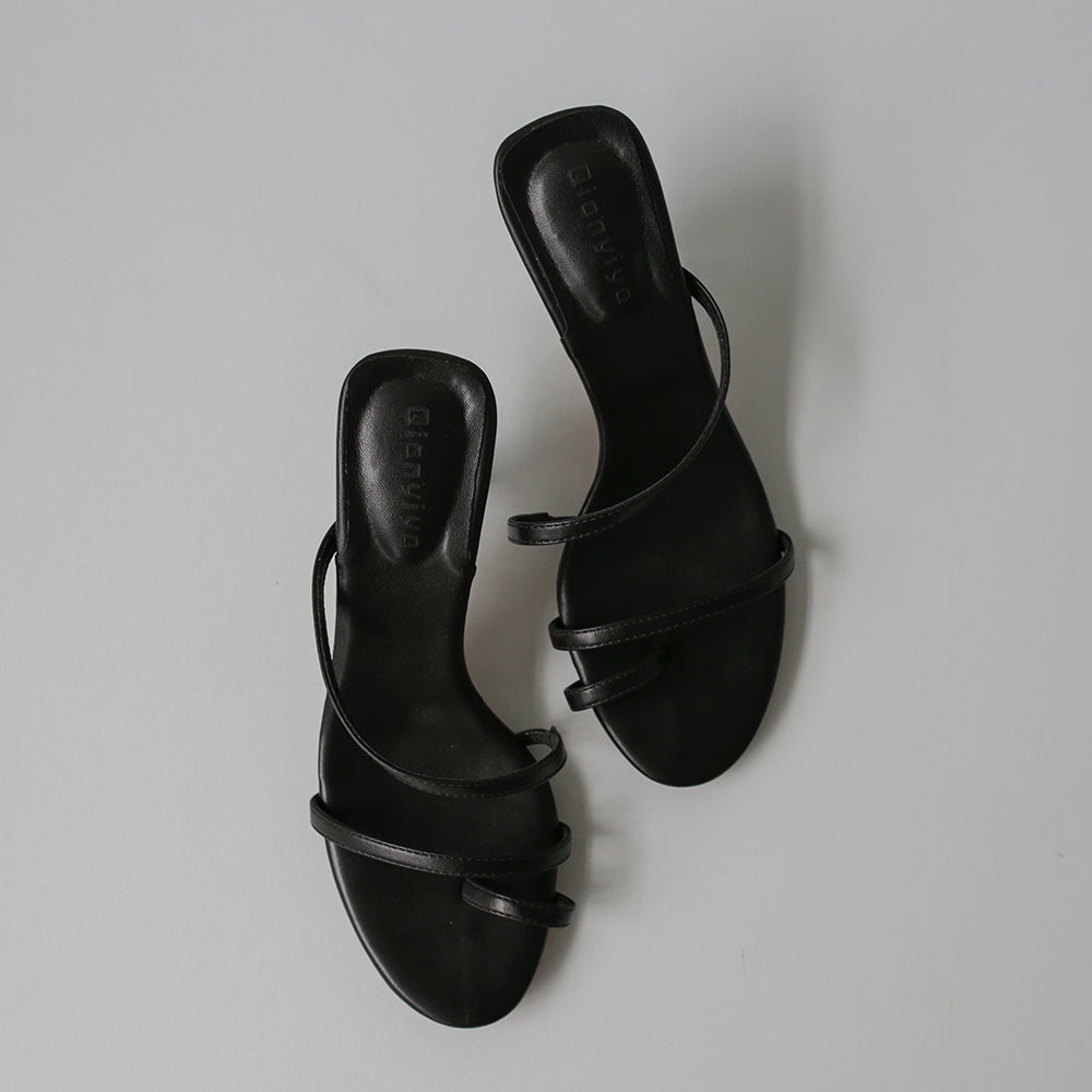 Windsor Toe Ring Heels (Black)