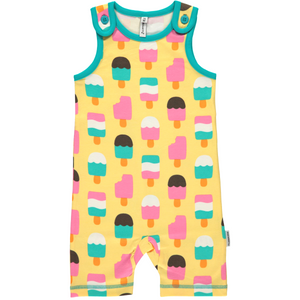 Maxomorra Organic Playsuit- Ice Cream Yellow - Eco-KidsWear