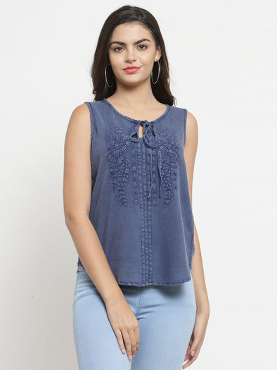 Blue Tencel Embroidered Top - Purplicious
