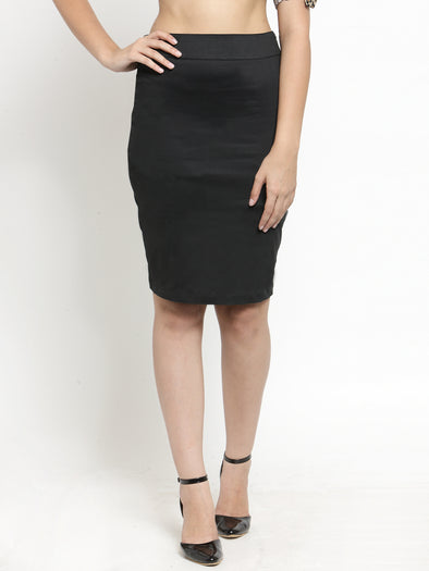 Black Formal Pencil Skirt with Back Slit - Purplicious