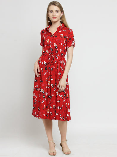 Red Floral Printed Fit and Flare Dress - Purplicious