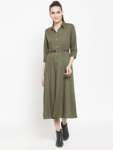 Olive A Line Midi Dress with belt - Purplicious