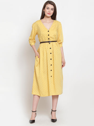 Yellow Polkadot Floral Printed Dress with Belt - Purplicious