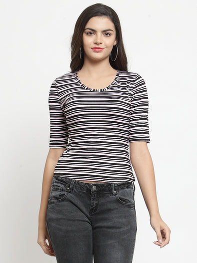 Pink and Black Striped Knit Top - Purplicious