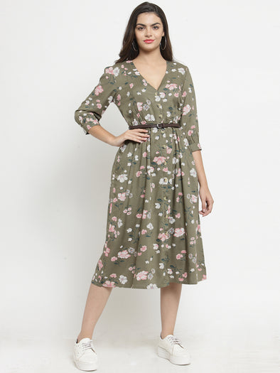 Olive Green Printed Fit and Flare Dress with Belt - Purplicious