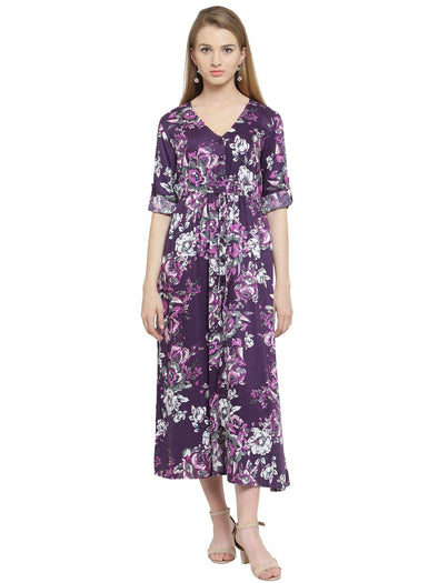 Purplicious Rayon a-line Dress - Purplicious