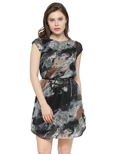 Purplicious Camouflage Polyster and Georgette Women Dress - Purplicious