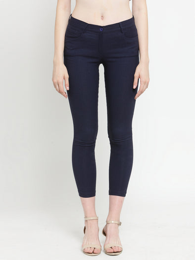 Blue Cotton Jeggings with Side and Back Pockets - Purplicious