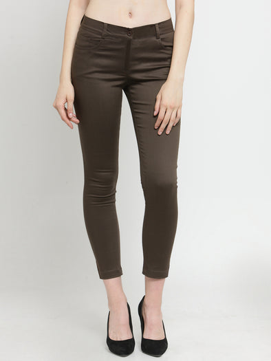Olive Cotton Jeggings with Side and Back Pockets - Purplicious
