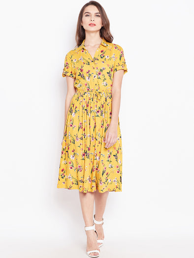 Mustard Floral Printed Fit and Flare Dress - Purplicious