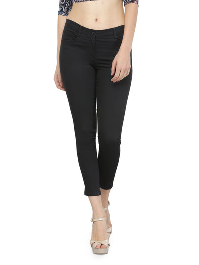 Black Cotton Jeggings with Side and Back Pockets - Purplicious