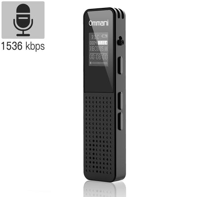 Voice Recorder, 8GB 1536Kbps Digital Audio Sound Recorder Dual Microphone Dynamic Noise Reduction USB Rechargeable - AngLinks
