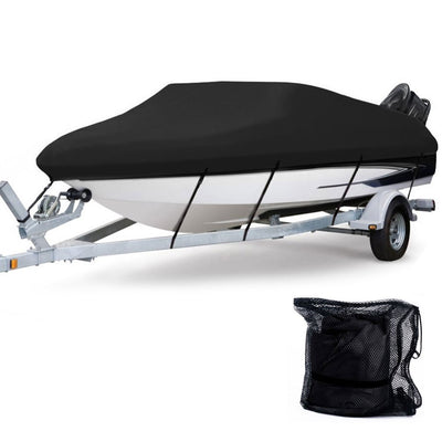 Anglink Waterproof Boat Cover, Heavy Duty 600D Polyester Oxford Professional Bass Runabout Boat Cover,Fits 17-19 feet V-Hull, Tri-Hull - AngLinks