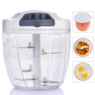 Manual Food Chopper,Ommani Sharp Blade Egg Beater Function Quickpull Vegetable Onion Handheld Chopper/Mincer/Blender Pull Choppers (6 Cup)