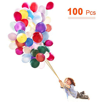 Anti-Break Latex Balloons, Assorted Color Birthday Balloons 12 Inches 100 Pcs Wedding Balloons for Birthday Party Wedding Decorations - AngLinks