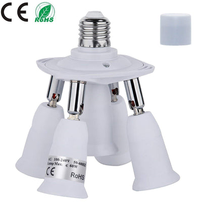 Light Socket Splitter, 5 In 1 Electric Spark Protection E26 E27 CFL Adapter Energy Saving Heat Resistance Light Bulb Socket Adapter 360 Degrees Adjustable 180 Degree Bendable Max Watt 300W - AngLinks