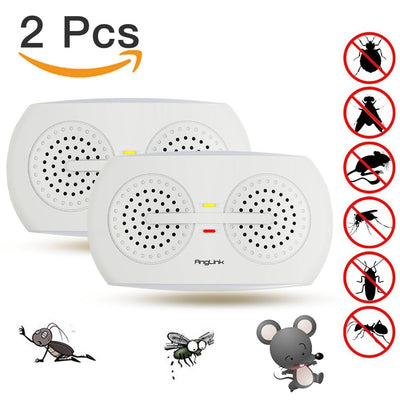 Ultrasonic Pest Repellent, Electronic Pest Repeller with Night Light for Insects, Mosquitoes, Ants, Bed Bugs, Flies, Fleas, Spiders, Mice, Rats, Mouse and More (2 Packs) - AngLinks